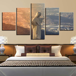 Jesus Christ The Redeemer Statue Brazil Canvas Five Piece Wall Art Home Decor - The Force Gallery