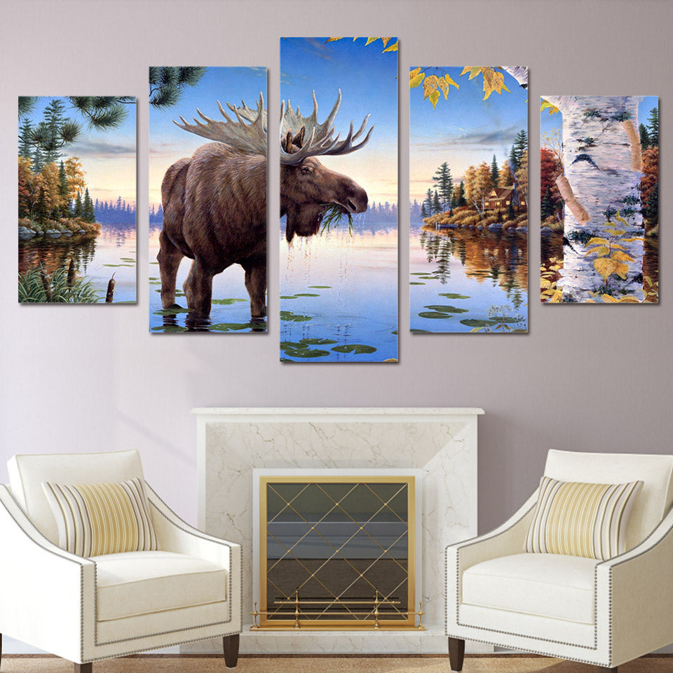 Large Moose Water Nature Cabin Canvas - The Force Gallery