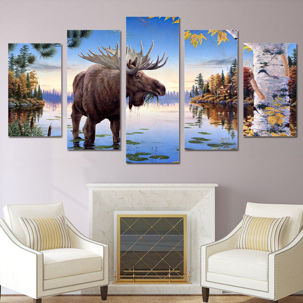Large Moose Water Nature Cabin Canvas
