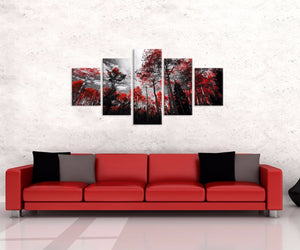 Forrest Red Trees Five Piece Canvas - The Force Gallery