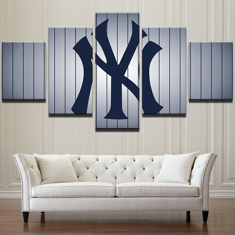 New York Yankees Pin Stripes Large Framed Canvas - The Force Gallery
