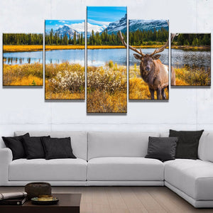 Elk Mountains Wildlife Nature Five Piece Canvas Wall Art Home Decor - The Force Gallery