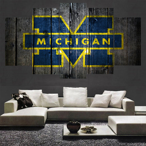 Michigan Wolverines Barnwood Style Canvas - The Force Gallery