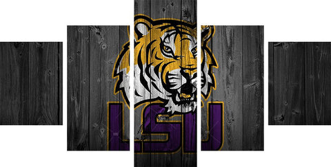 LSU Tigers College Football Canvas Barnwood Style - The Force Gallery