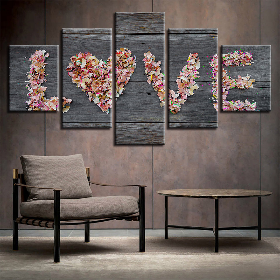 Love Flowers Barn Wood Style Five Piece Canvas Wall Art Home Decor - The Force Gallery
