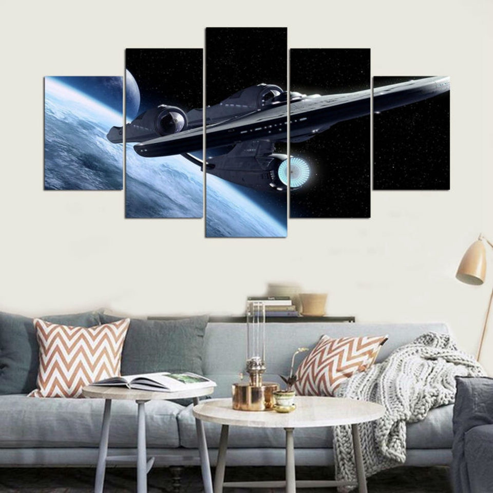 Star Trek Enterprise Space Five Piece Canvas - The Force Gallery