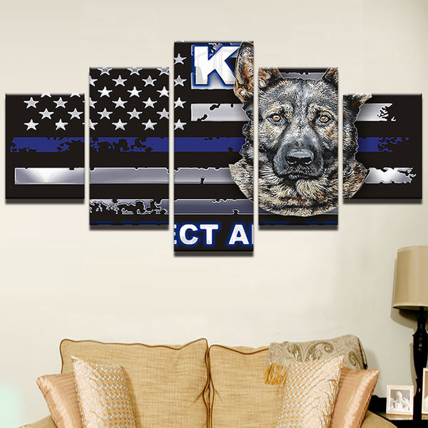 K-9 Police Blue Line Framed Canvas Swat