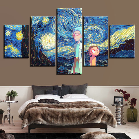 Rick and Morty Starry Night Five Piece Canvas - The Force Gallery