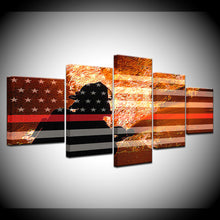 Firefighter Fighting Flames Red Line Flag Five Piece Canvas Wall Art Home Decor - The Force Gallery