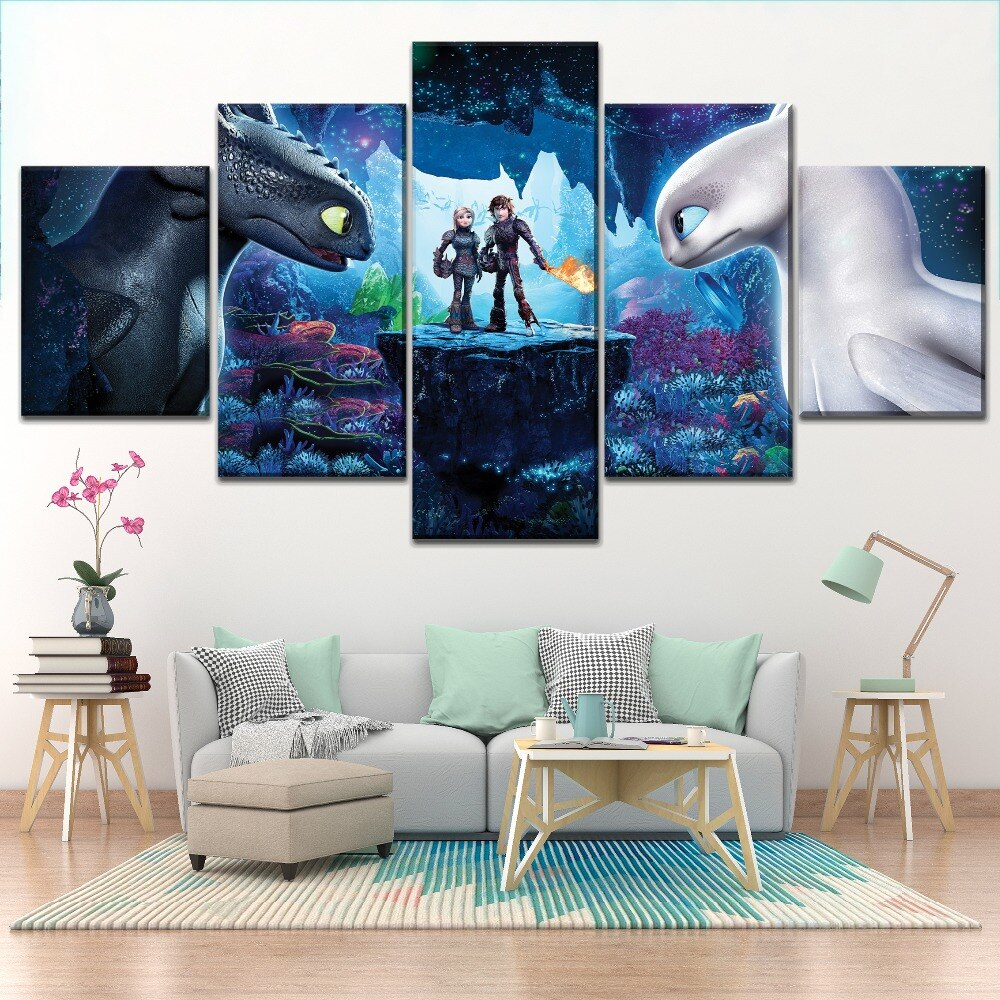 How to Train Your Dragon Kids Room Five Piece Canvas Wall Art Home Decor Multi Panel 5 - The Force Gallery