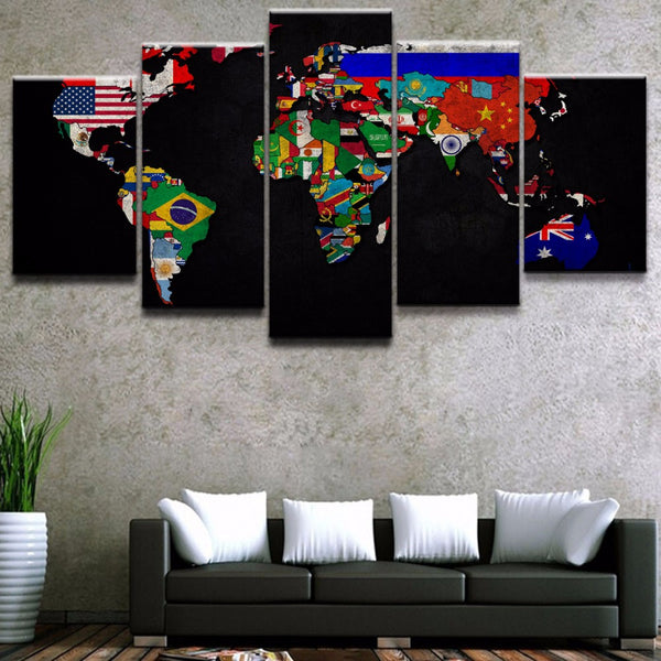 World Map Flags Colorful Canvas