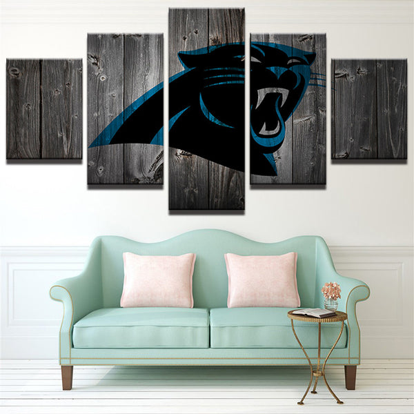 Carolina Panthers Football Canvas Barnwood Style