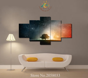 Beautiful Starry Night Lone Tree Canvas Large Framed Five Piece - The Force Gallery