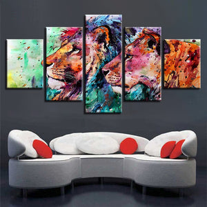 Abstract Colorful Lions Animal Five Piece Canvas Wall Art Home Decor Multi Panel 5