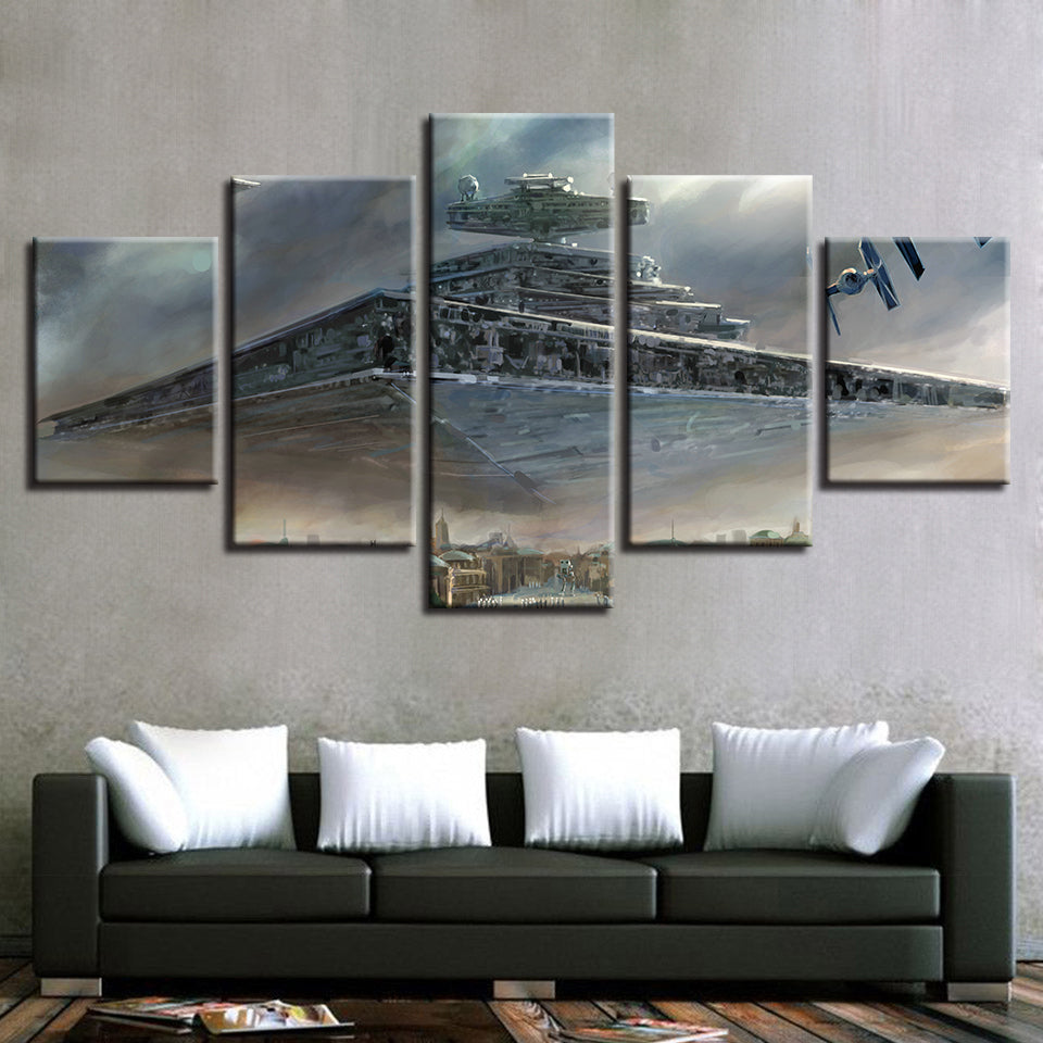Star Destroyer Over City Star Wars Large Framed Canvas - The Force Gallery