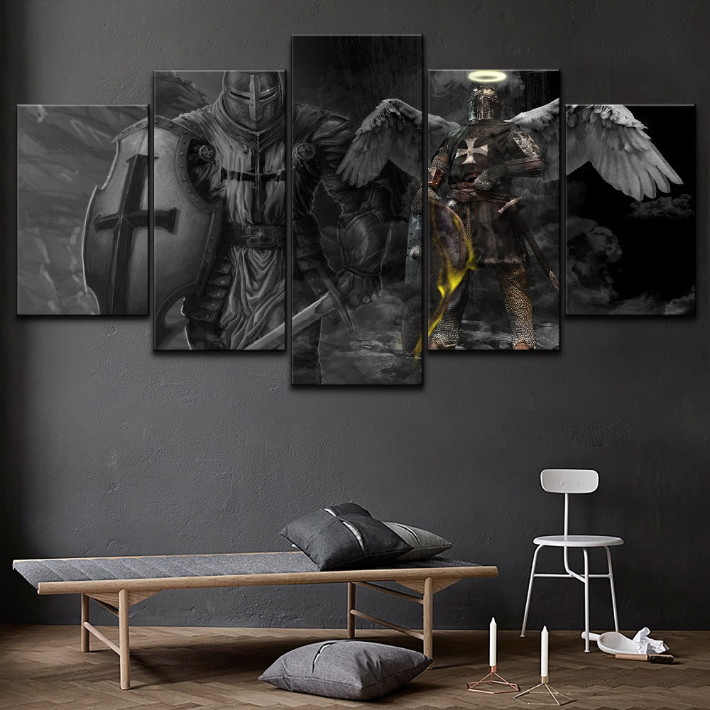 Knights Templar Guardian Angel Knights Five Piece Canvas Wall Art Home Decor Multi Panel - The Force Gallery