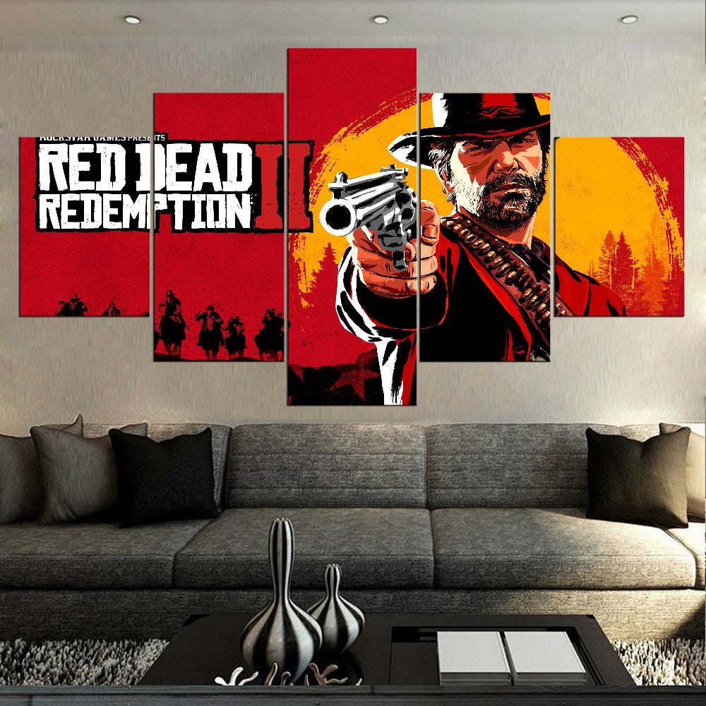 Red Dead Redemption 2 Game Canvas Print Wall Home Decor Five Piece - The Force Gallery