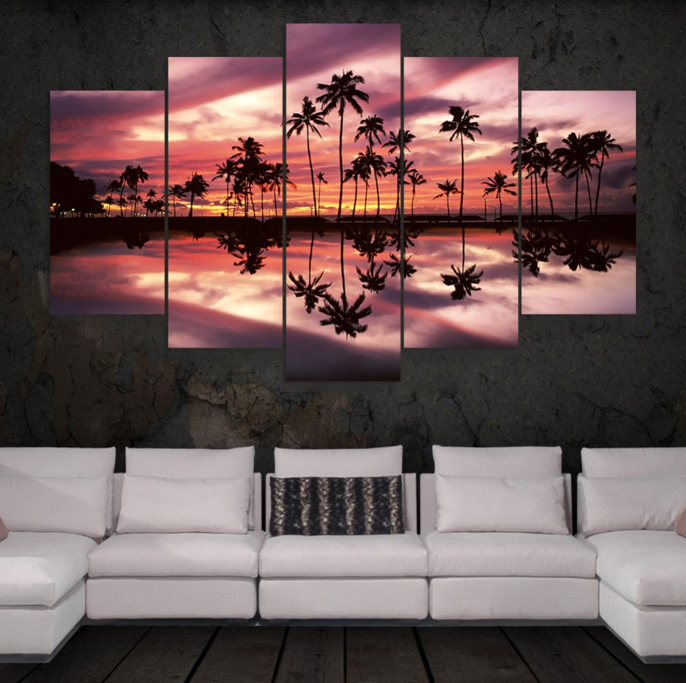 Palm Trees Reflection Ocean Five Piece Canvas - The Force Gallery