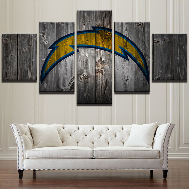 San Diego Chargers Football Canvas Barnwood Style - The Force Gallery