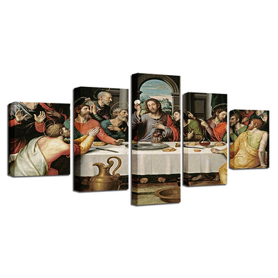 The Last Supper Jesus Christ Disciples Christianity Five Piece Canvas Wall Art Home Decor Multi Panel 5