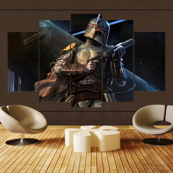 Star Wars Boba Fett Bounty Hunter Rendering Canvas