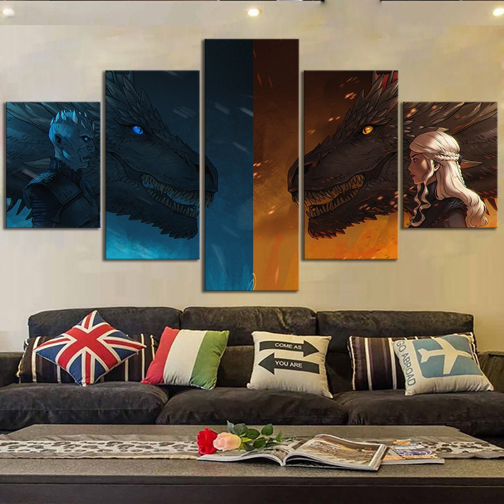 Game of Thrones Dragons Danerys White Walker Canvas Five Piece Wall Art Home Decor - The Force Gallery
