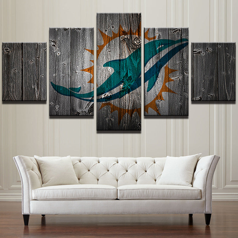 Miami Dolphins Football Barnwood Style Canvas - The Force Gallery
