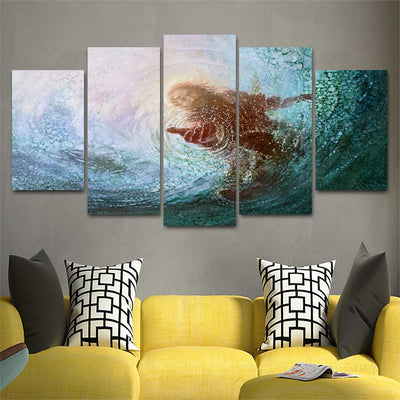 Jesus Rescue Water Savior Five Piece Canvas Wall Art Home Decor - The Force Gallery