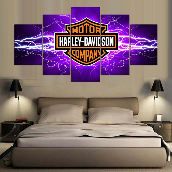Harley Davidson Lightning Large Framed Canvas