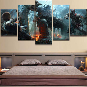 God of War Kratos Battle Giant 5 Piece Canvas Wall Art Home Decor - The Force Gallery