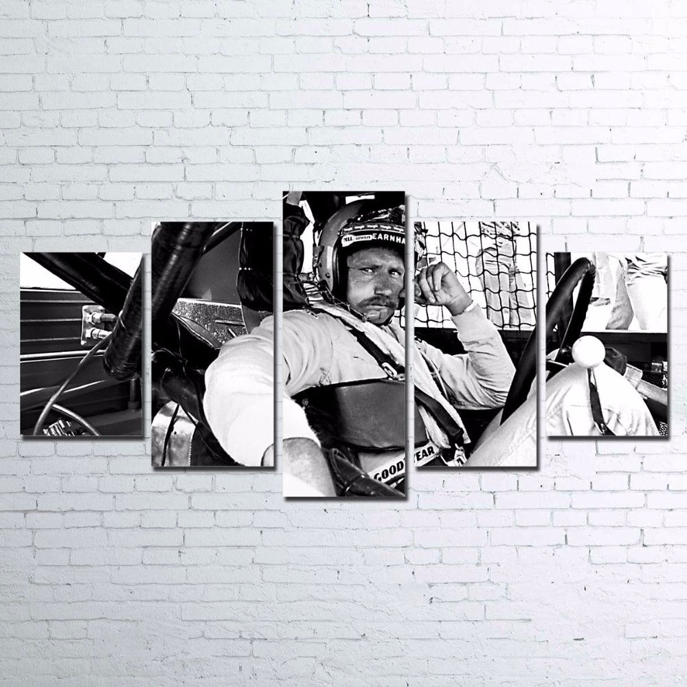 Dale Earnhardt Black and White Racing Nascar Five Piece Canvas - The Force Gallery