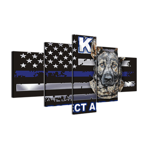 K-9 Police Blue Line Framed Canvas Swat - The Force Gallery