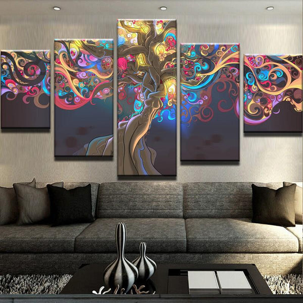 Colorful Tree Nude Women Trunk Abstract Framed Canvas