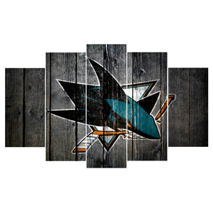 San Jose Sharks Hockey Barnwood Style Canvas - The Force Gallery