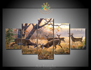 Deer Buck Fighting Wildlife Nature Five Piece Canvas - The Force Gallery