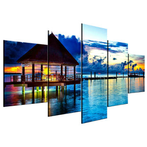 Ocean Sunset Vacation Dock 5 Piece Canvas Wall Art Home Decor - The Force Gallery