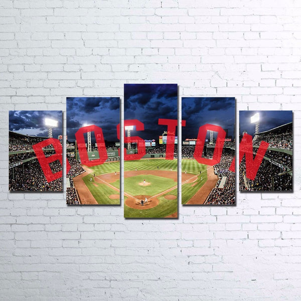 Boston Red Sox Baseball Canvas Large Framed Five Piece - The Force Gallery