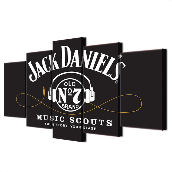 Jack Daniels Whiskey Old Number 7 Music Stage Canvas Large Framed Five Piece