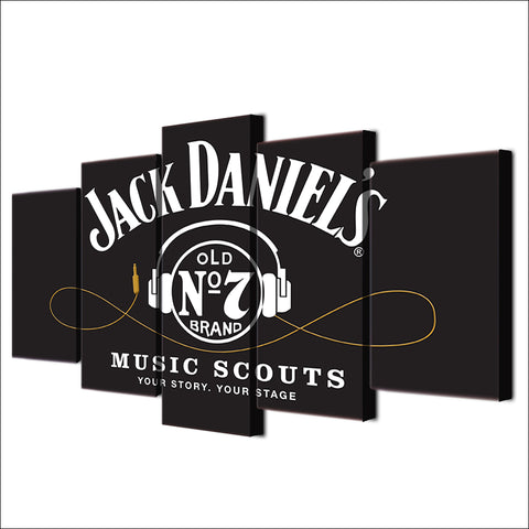 Jack Daniels Whiskey Old Number 7 Music Stage Canvas Large Framed Five Piece - The Force Gallery