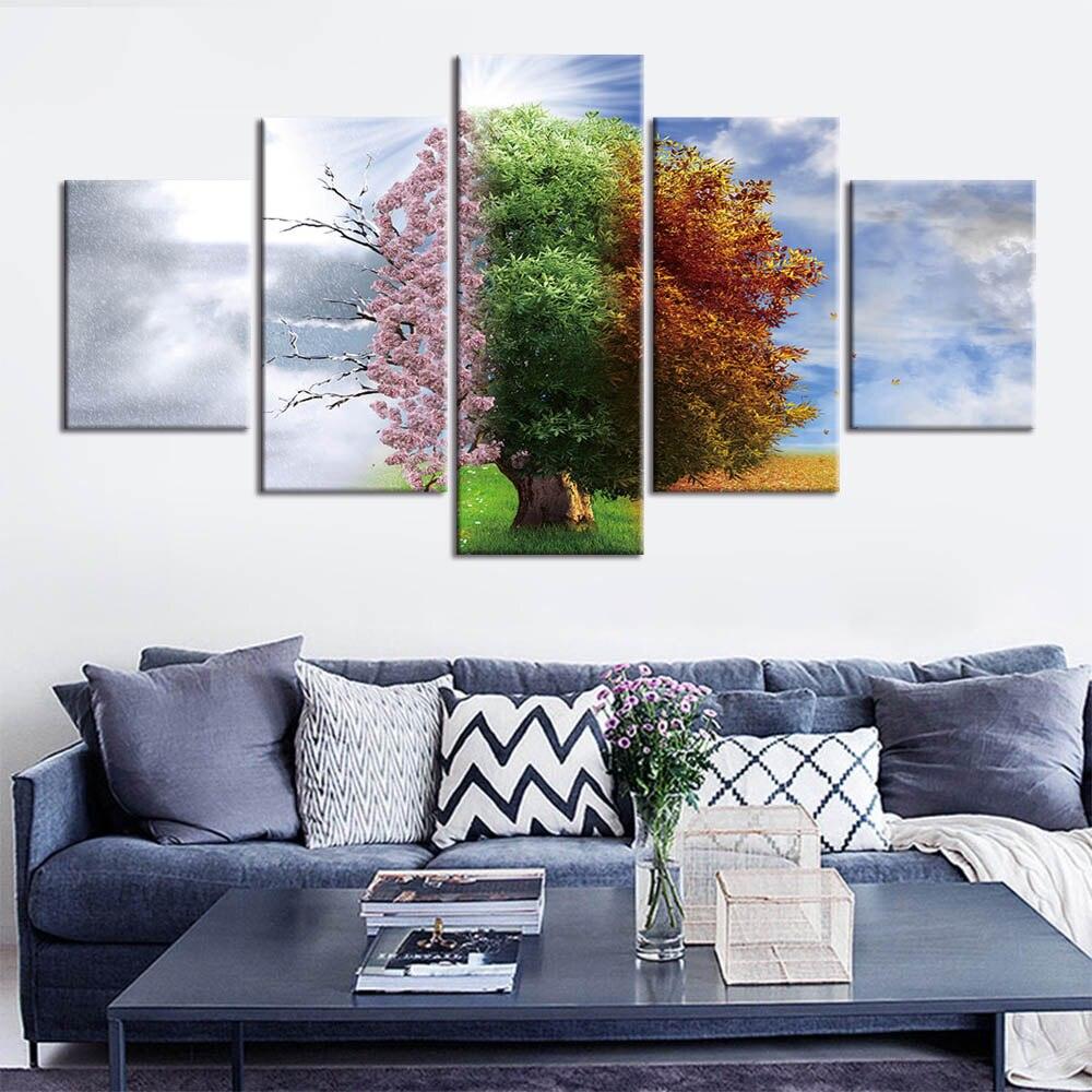 Tree Four Seasons Five Piece Canvas Wall Art Home Decor Multi Panel 5
