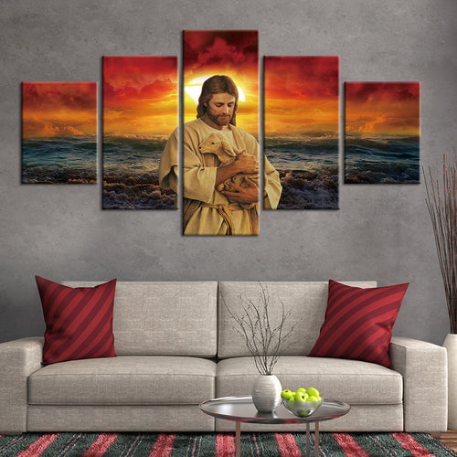 Jesus Lamb World Sunset Christianity Five Piece Canvas Wall Art Home Decor Multi Panel 5