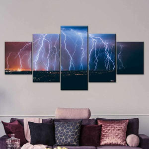 Lightning Strike Landscape Five Piece Canvas Wall Art Home Decor Multi Panel 5 - The Force Gallery