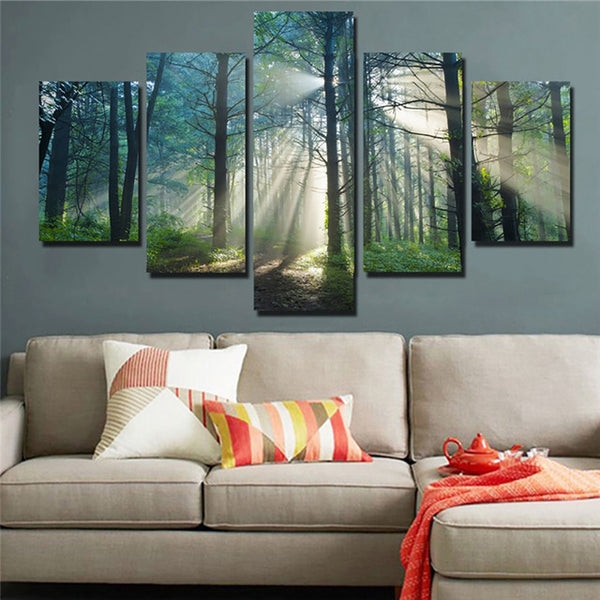 Sunshine Through Trees Forest Nature Five Piece Canvas Home Decor