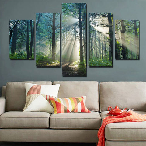 Sunshine Through Trees Forest Nature Five Piece Canvas Home Decor - The Force Gallery