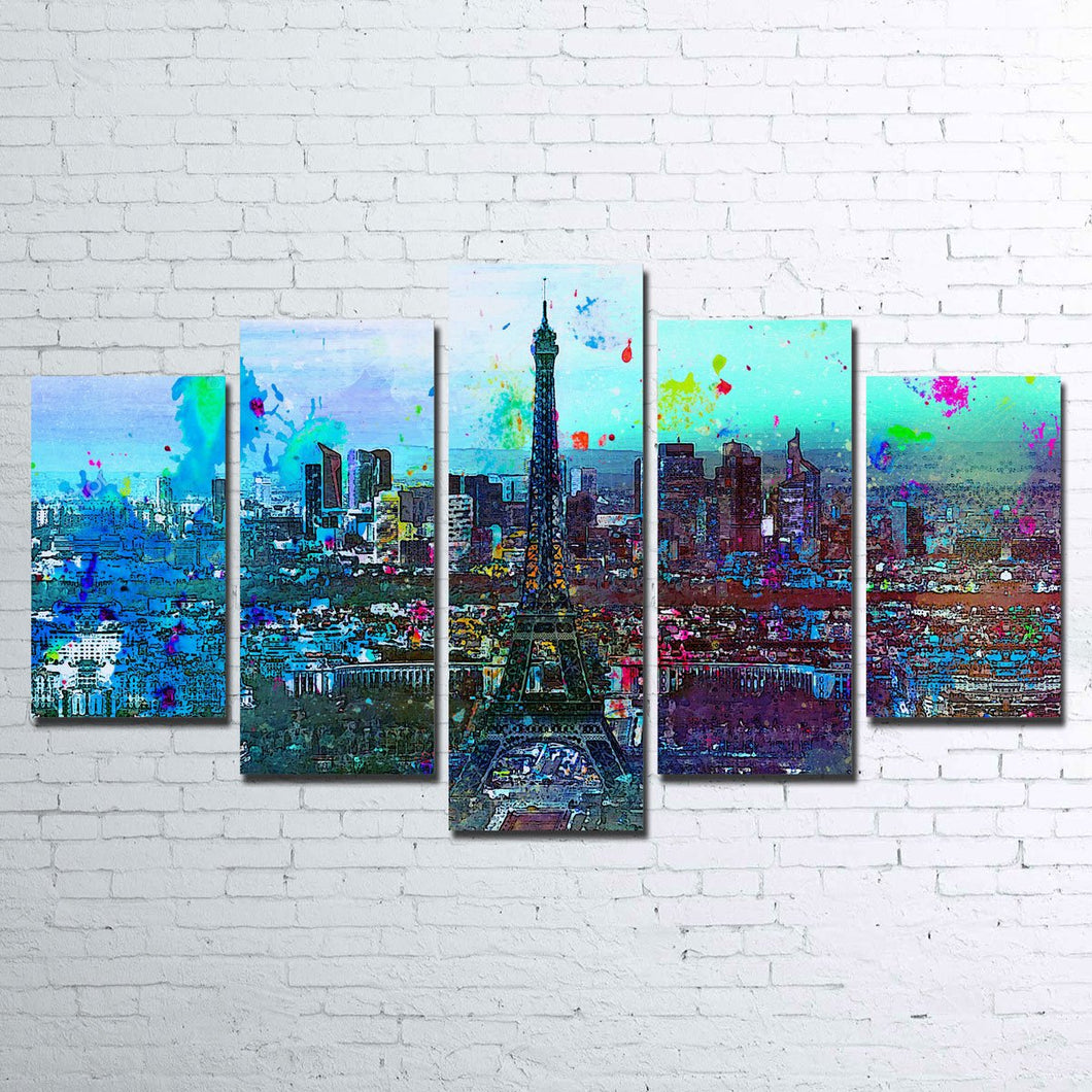 Paris Skyline City Abstract Five Piece Canvas Wall Art Home Decor Multi Panel 5 - The Force Gallery