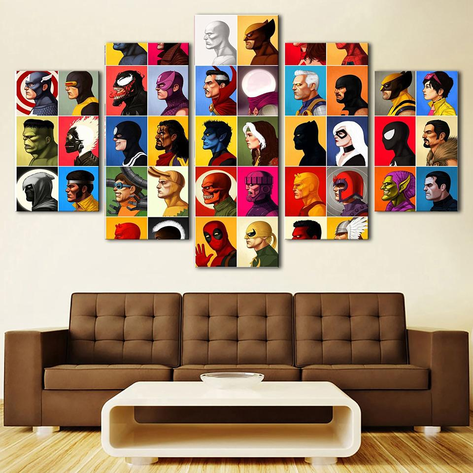 20 Best Collection Of Large Framed Wall Art: Large Framed Comic Book Characters 5 Piece Canvas Print