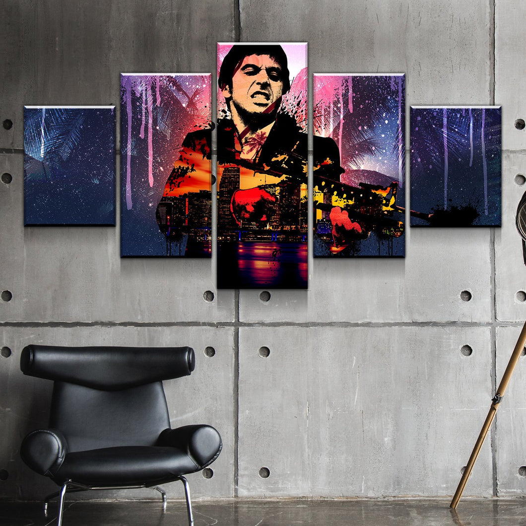 Scarface Gangster Abstract Canvas Wall Art Print Home Decor 5 Piece - The Force Gallery