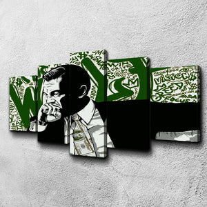 Wolf Money Wall Street Five Piece Canvas Wall Art Home Decor Multi Panel 5