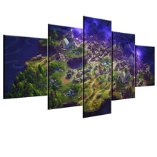 Fortnite Map Canvas Large Framed Five piece Canvas Wall Art - The Force Gallery