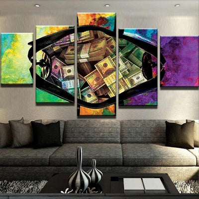 Colorful Bag of Money Cash Five Piece Canvas Wall Art Home Decor Multi Panel 5